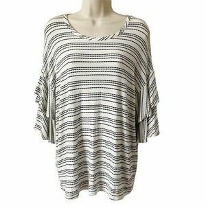 Cha Cha Vente Blouse White Striped XL